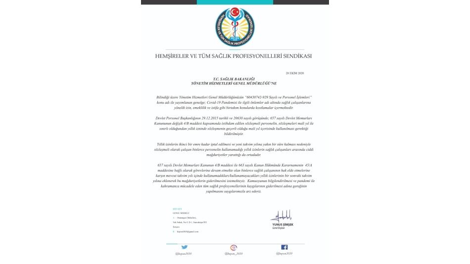 Sağlık Bakanlığı'na Yıllık İzinlerle İlgili Talep Mektubu